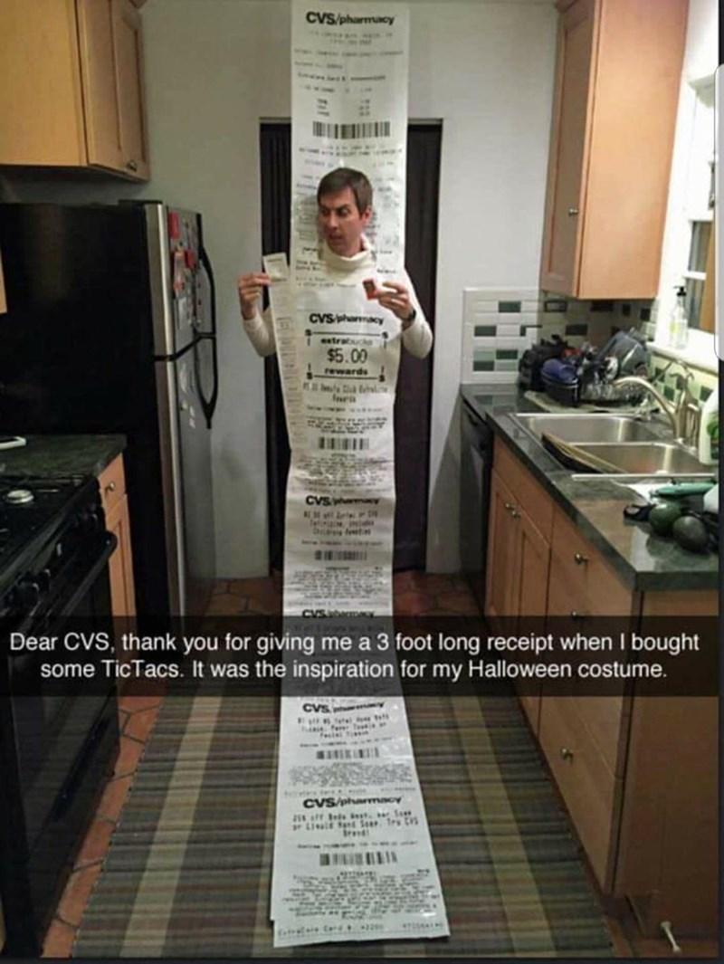 CVS receipt meme of a man wearing it as a costume