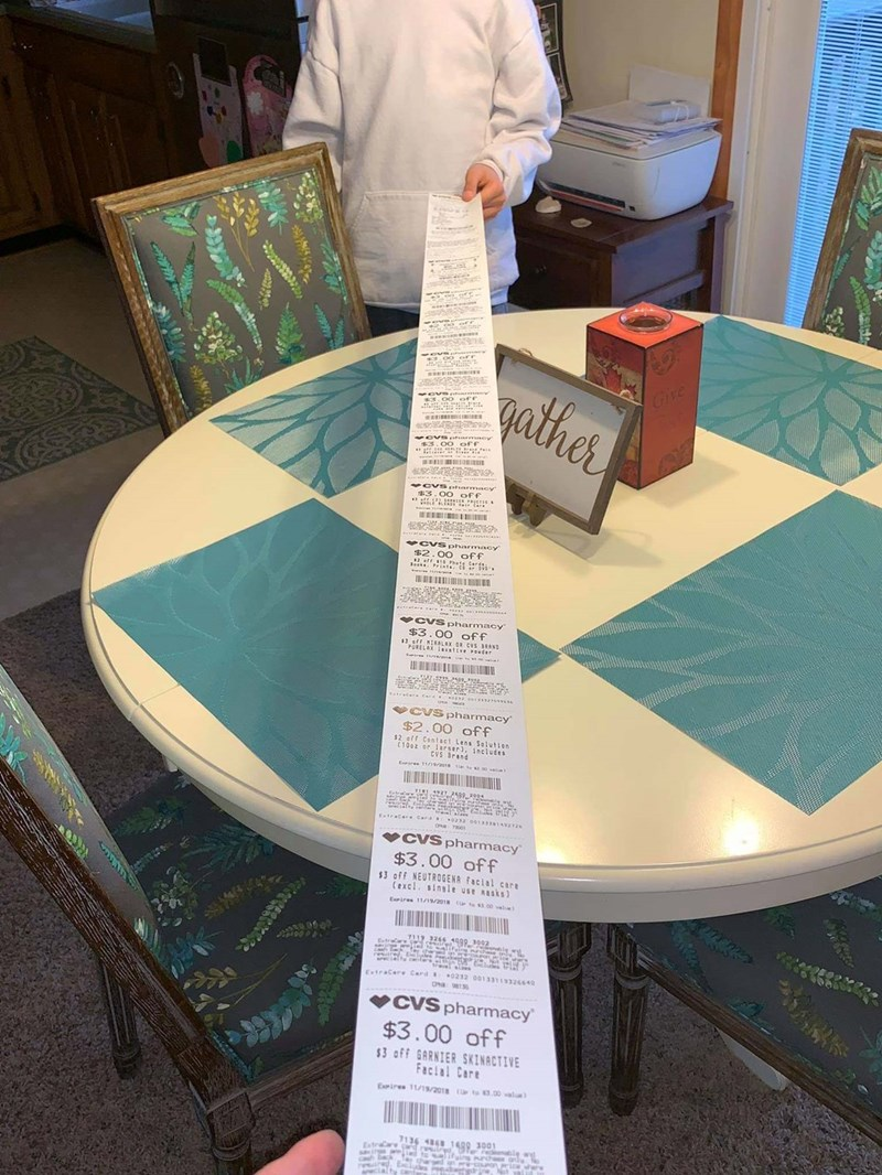 CVS receipt meme after buying just two items that it spans the length of the room