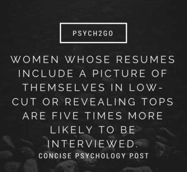 Text - PSYCH2G0 WOMEN WHOSE RESUMES INCLUDE A PICTURE OF THEMSELVES IN LOW- CUT OR REVEALING TOPS ARE FIVE TIMES MORE LIKELY TO BE INTERVIEWED CONCISE PSYCHOLOGY POST