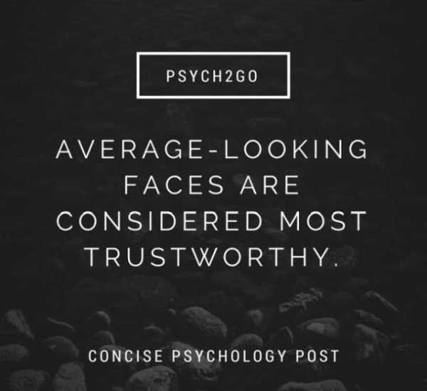 Text - PSYCH 2G0 AVERAGE - LOOKING FACES ARE CONSIDERED MOST TRUSTWORTHY CONCISE PSYCHOLOGY POST