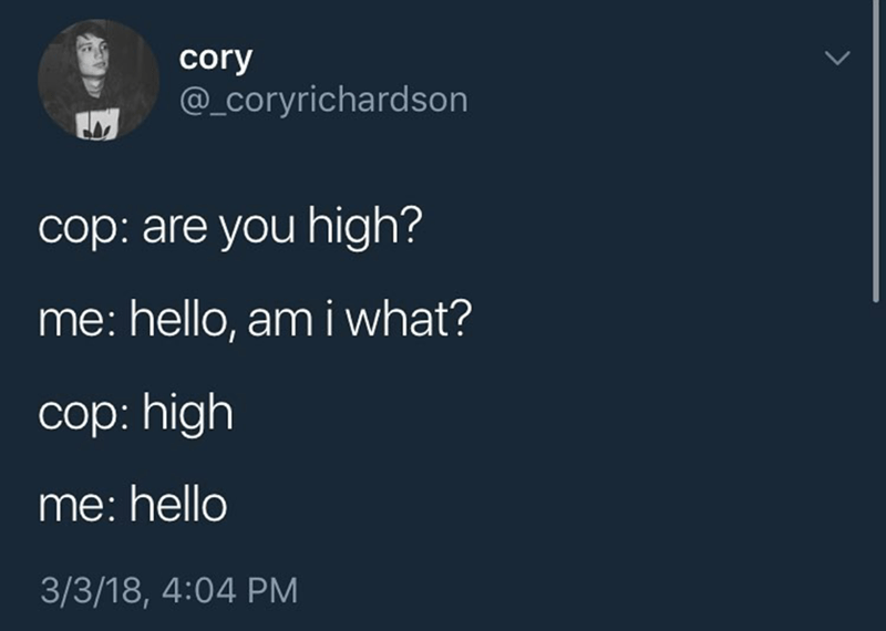 Text - cory @_coryrichardson cop: are you high? me: hello, am i what? cop: high me:hello 3/3/18, 4:04 PM