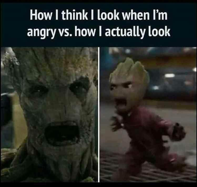 Fictional character - How I think I look when I'm angry vs. how I actually look