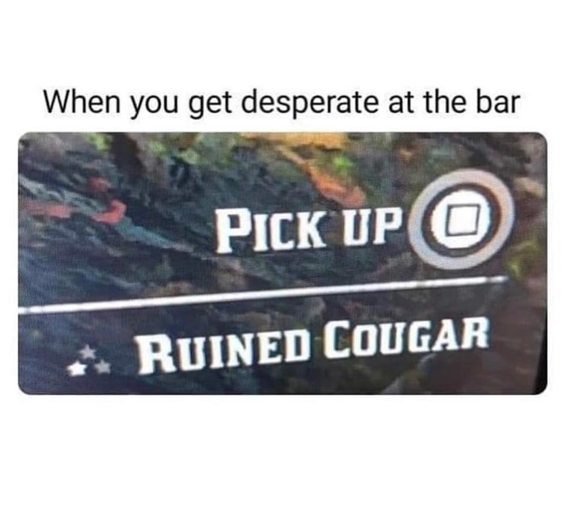 Red Dead Meme about striking out at the bar and resorting to picking up older women