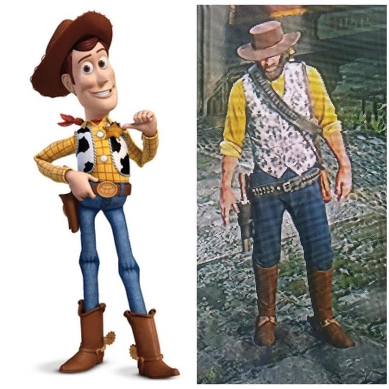 Red Dead Meme of dressing characters as Woody from Toy Story