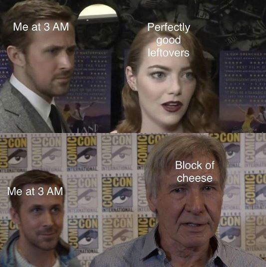 cheese meme about cravings in the middle of the night with pictures of Ryan Gosling sin the background of red carpet interviews