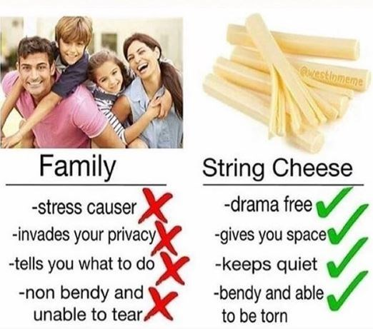 cheese meme proving why having string cheese is better than having a family