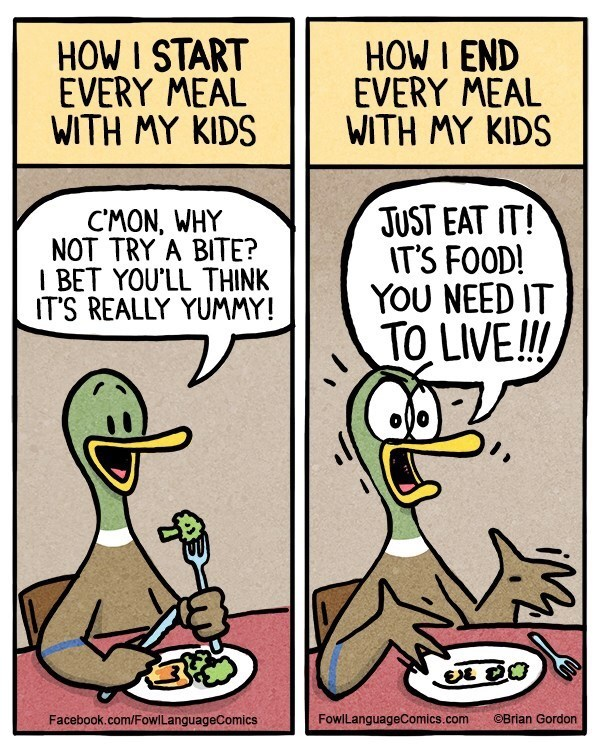Cartoon - HOW I START EVERY MEAL WITH MY KIDS HOW I END EVERY MEAL WITH MY KIDS JUST EAT IT! IT'S FOOD! YOU NEED IT TO LIVE!! CMON, WHY NOT TRY A BITE? I BET YOU'LL THINK IT'S REALLY YUMMY! Facebook.com/FowlLanguageComics FowlLanguageComics.com OBrian Gordon