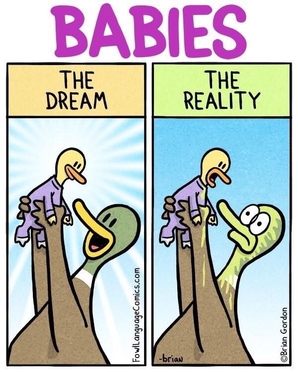Cartoon - BABIES THE DREAM THE REALITY -briaw FowlLanguageComics.com OBrian Gordon