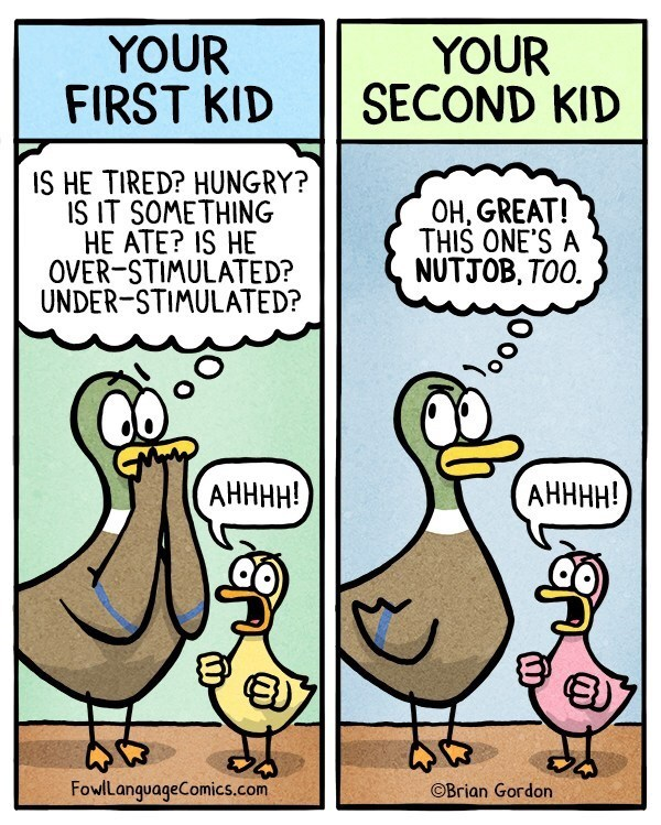 Cartoon - YOUR FIRST KID YOUR SECOND KID IS HE TIRED? HUNGRY? IS IT SOMETHING HE ATE? IS HE OVER-STIMULATED? UNDER-STIMULATED? OH, GREAT! THIS ONE'S A NUTJOB, TOO АНННН! АНННН! FowlLanguageComics.com OBrian Gordon