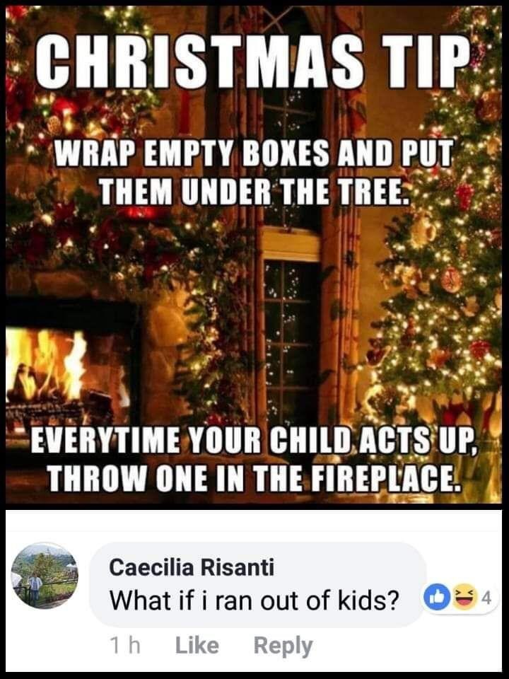 meme about misunderstanding Christmas themed parenting tip