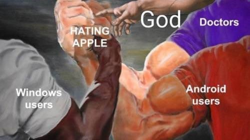 "'Epic Handshake' meme where ""Hating Apple"" unites ""Windows Users, Android users, God and doctors"""