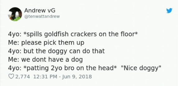 """Text - Andrew vG @tenwattandrew 4yo: *spills goldfish crackers on the floor* Me: please pick them up 4yo: but the doggy can do that Me:we dont have a dog 4yo: *patting 2yo bro on the head* """"Nice doggy"""" 2,774 12:31 PM - Jun 9, 2018"""