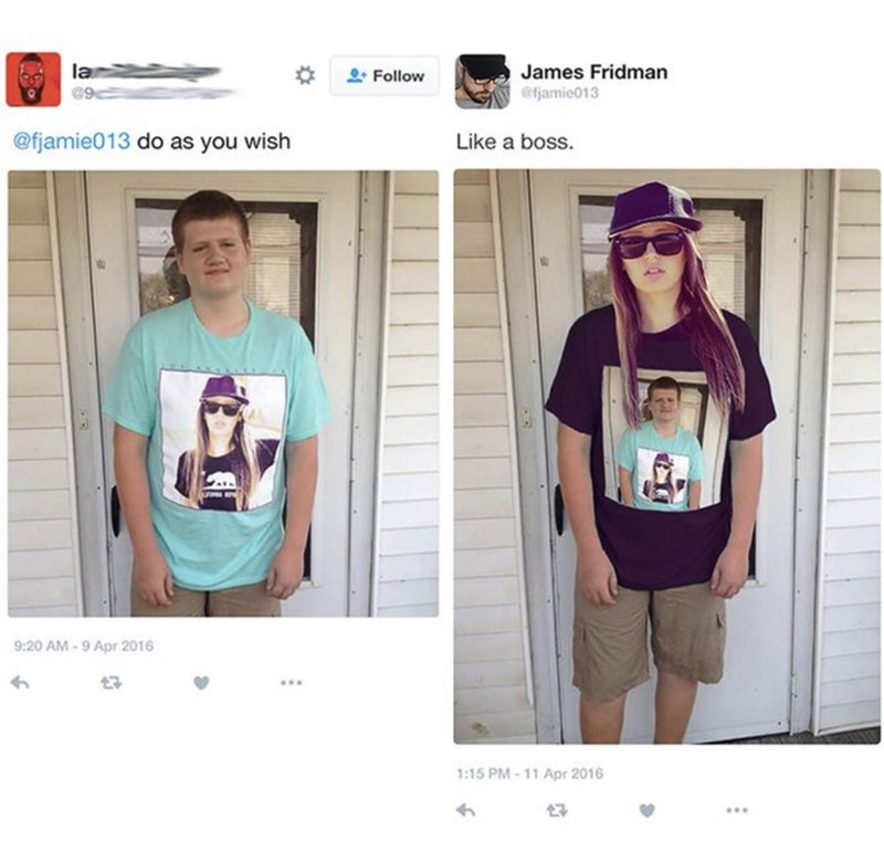 Kid who has a girl on his t-shirt gets photoshopped into said girl where he is on her t-shirt instead