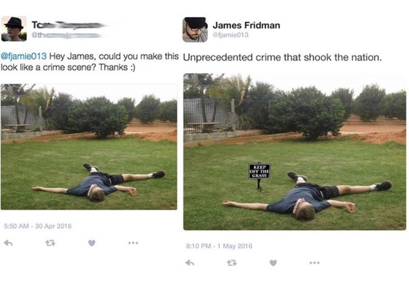 guy asks to be added into a crime scene and gets a warning sign photoshopped into his pic