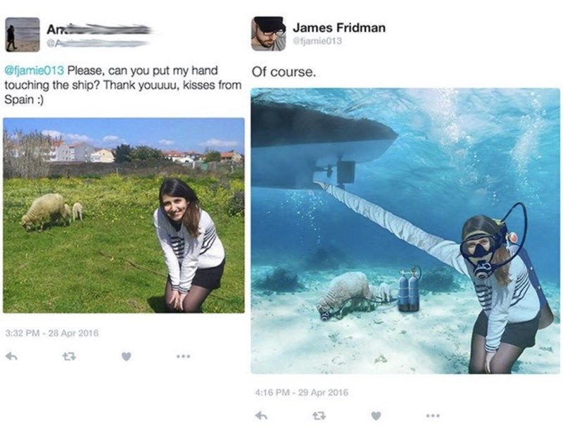 "girl misspells the word ""sheep"" as ""ship"" and gets photoshopped underwater"
