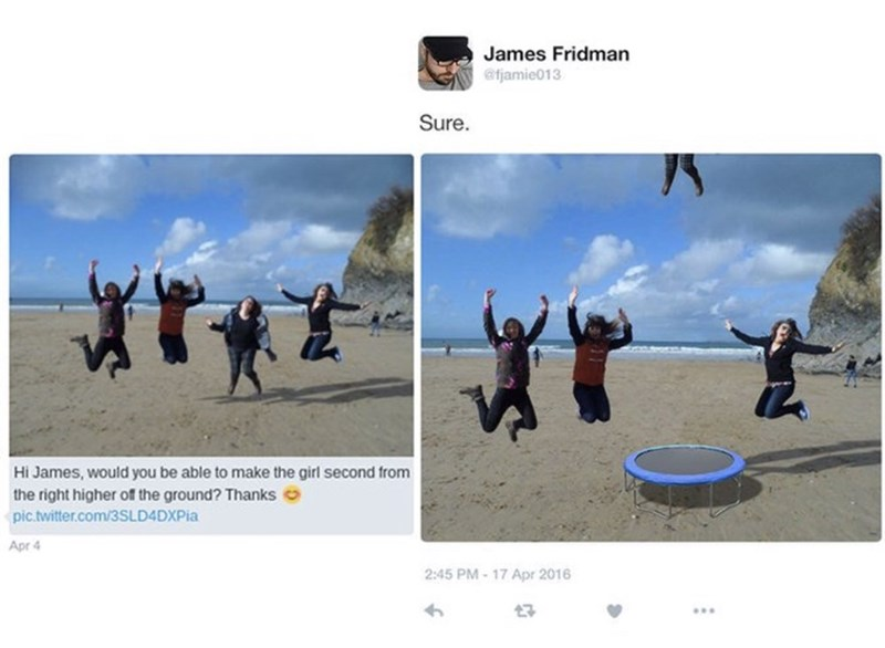 girl asks to look like she's jumping in photo and gets photoshopped into being launched off a trampoline