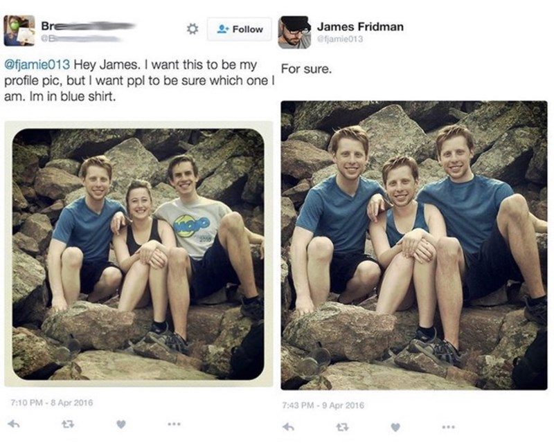guy asks to stand out in group picture and gets the whole group photoshopped into him