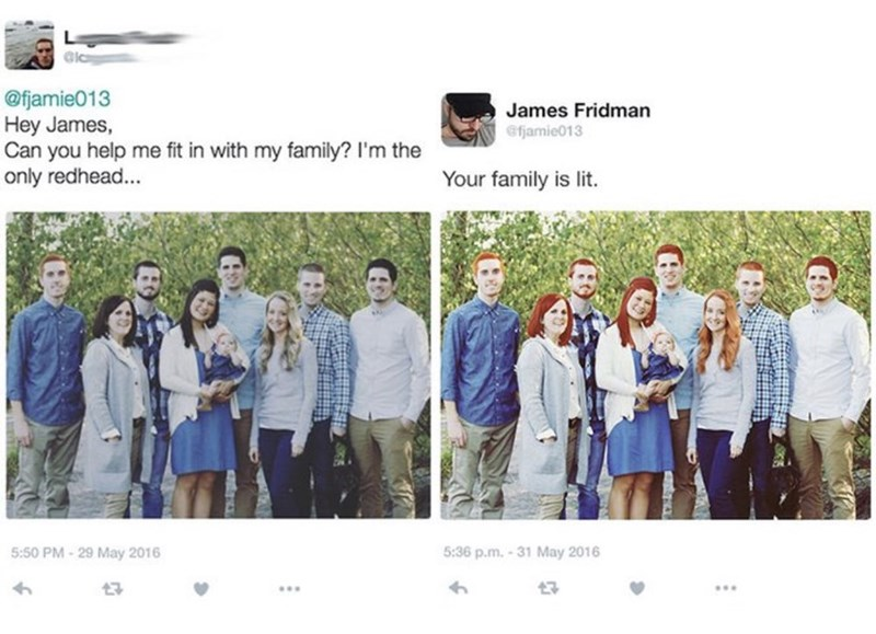 guy asks to fit in in a group pic and gets the whole group photoshopped into having his hair color