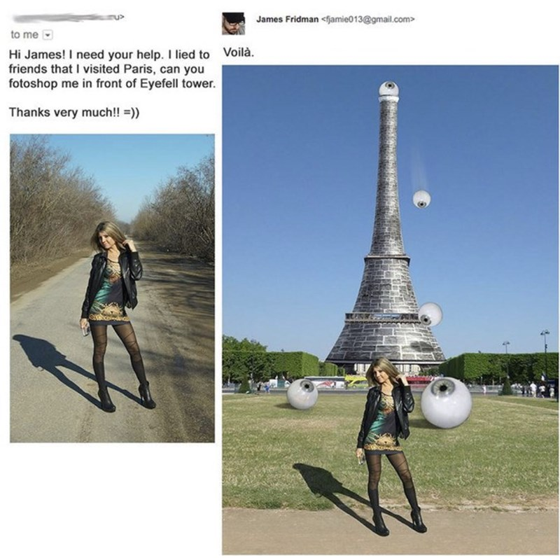 Girl asks to be photoshopped in front of the 'Eyefell' Tower, gets photoshopped in front of a tower with eyes falling from it