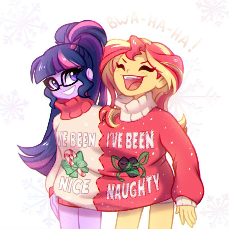 shipping christmas equestria girls scitwi twilight sparkle jumblehorse ugly sweater sunset shimmer - 9245566208