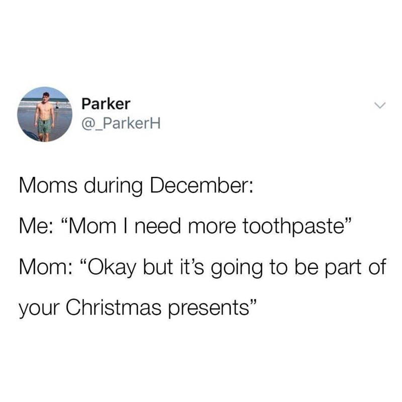 tweet about mothers becoming stingy during holiday season