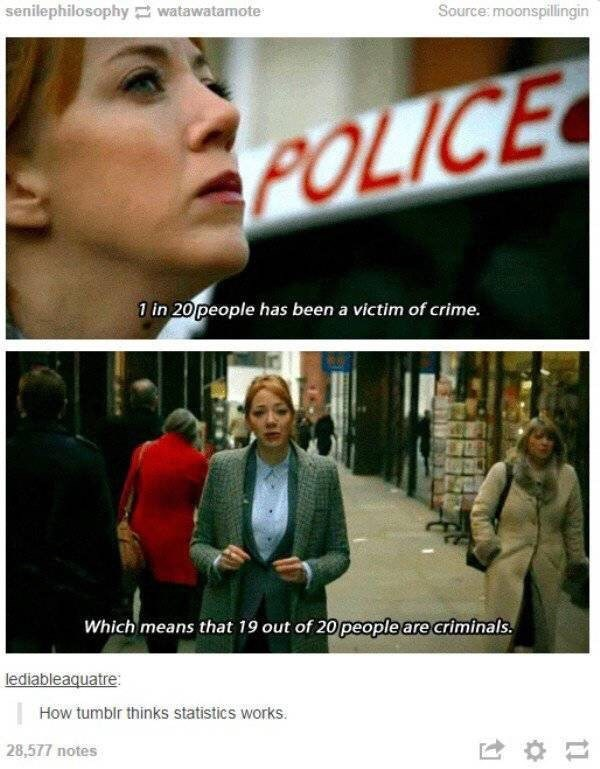 meme about not understanding statistics with screenshots of woman explaining crime rates