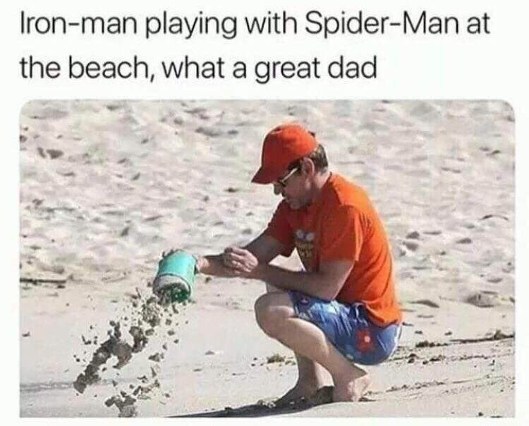 meme about Spider Man turning to dust in Infinity War with picture of Robert Downey Jr playing with sand