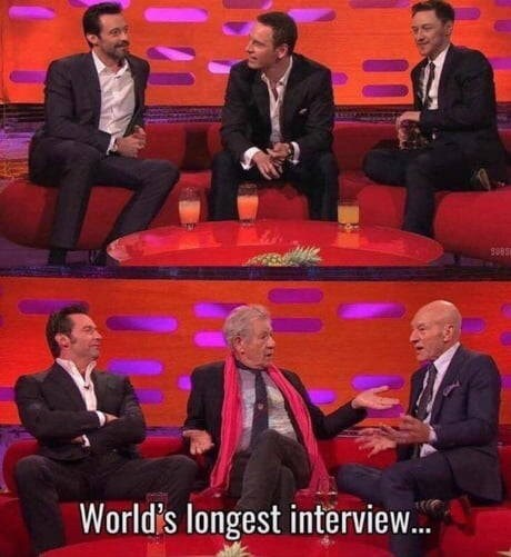 meme about the X Men cast growing old during interview with similar pictures of the young and the old cast in the same setting