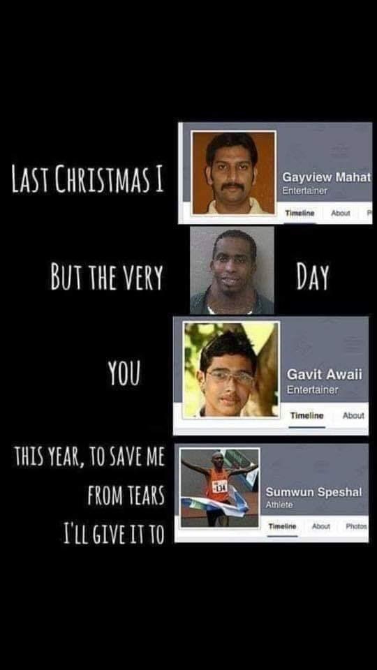 "strange meme of Wham!'s ""Last Christmas"" lyrics completed using Facebook profiles"