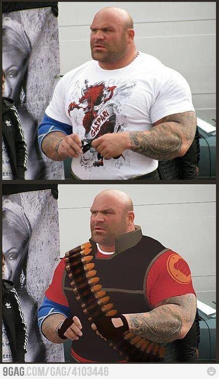 strange meme of person photoshopped to be dressed like Heavy from Team Fortress 2