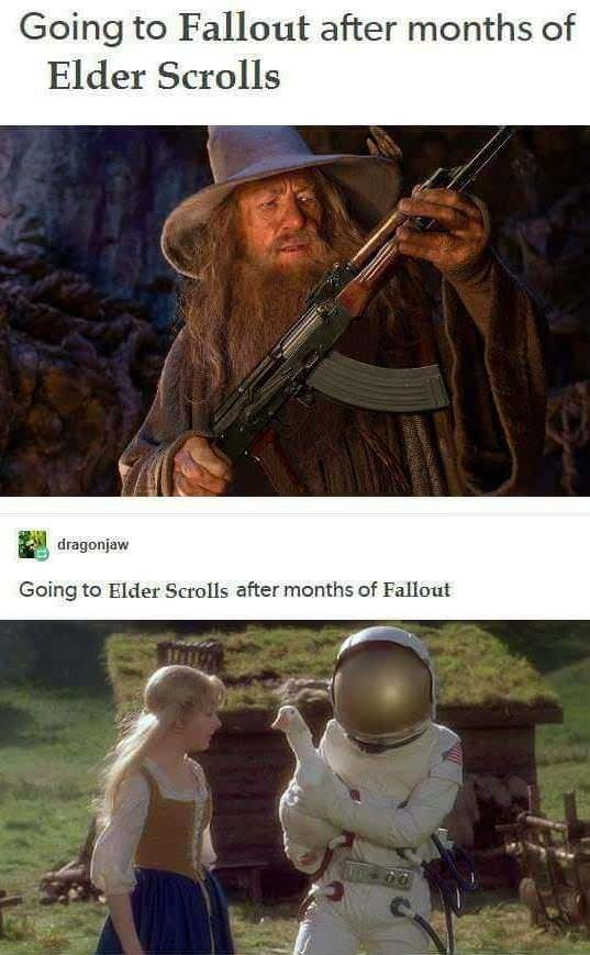 strange meme about moving between different genre video games with pictures of Gandalf holding rifle and astronaut in village setting