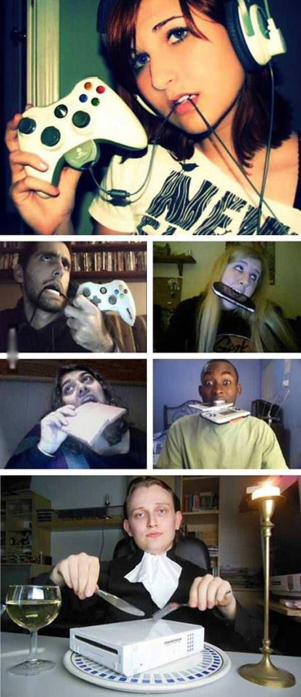 strange meme of people parodying sexy gamer girl biting controller