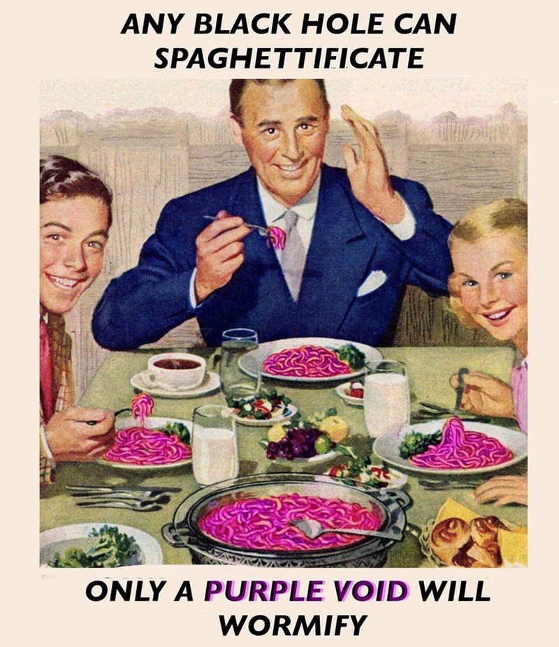 strange meme with classic painting of family eating lunch of purple worms