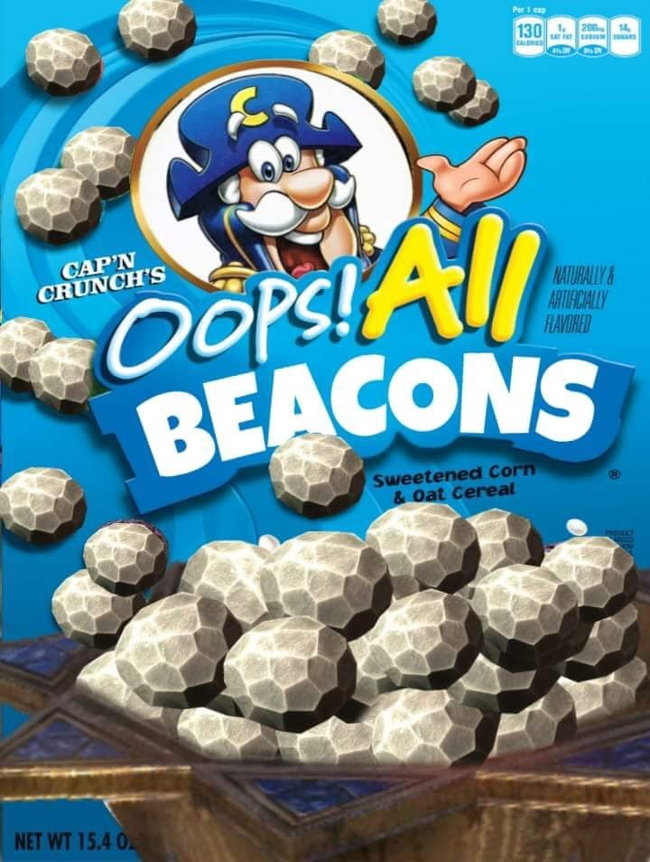 strange meme of Captain Crunch cereal as Skyrim Beacons
