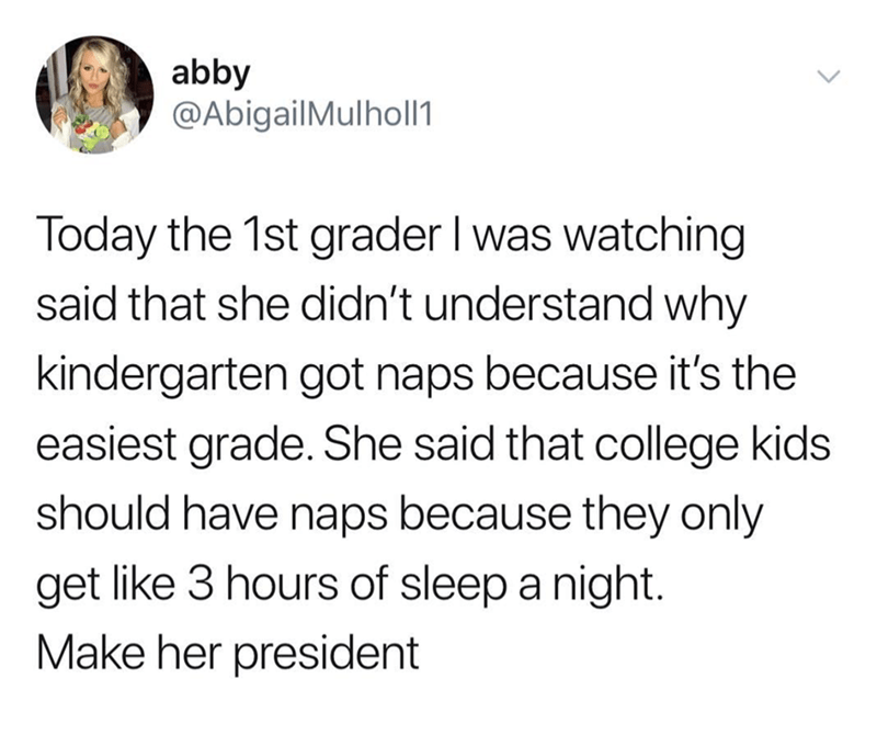 amusing meme nominating genius girl for president for figuring out who deserves naps the most