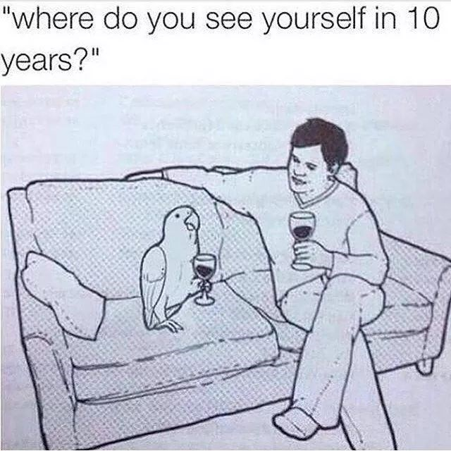 "Caption that reads, ""Where do you see yourself in 10 years?"" above an illustration of a guy sitting next to his parrot on the couch while drinking wine"