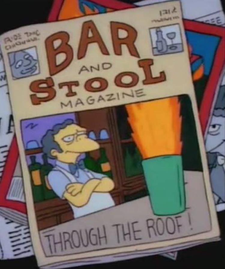 Cartoon - BAR STOOL EE AND MAGAZINE THROUGH THE ROOF