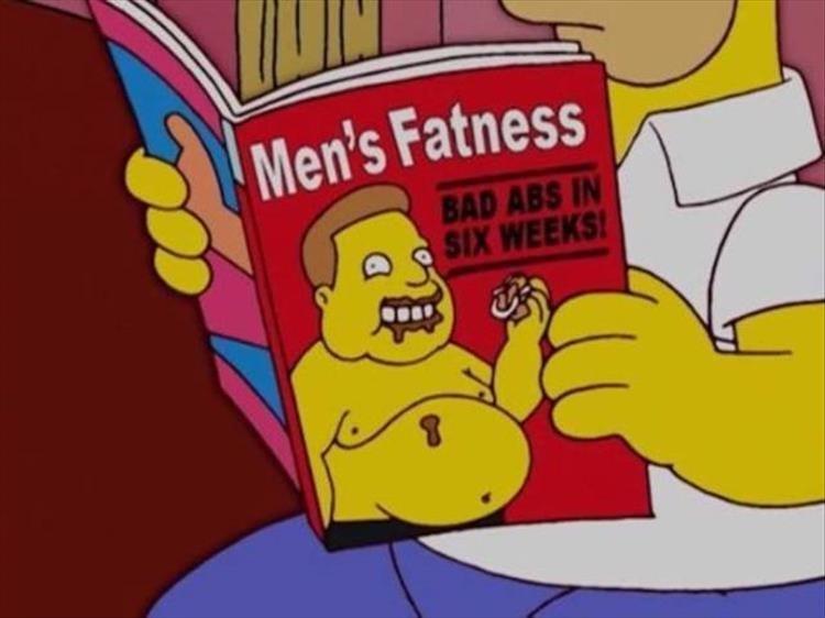 Cartoon - Men's Fatness BAD ABS IN SIX WEEKS
