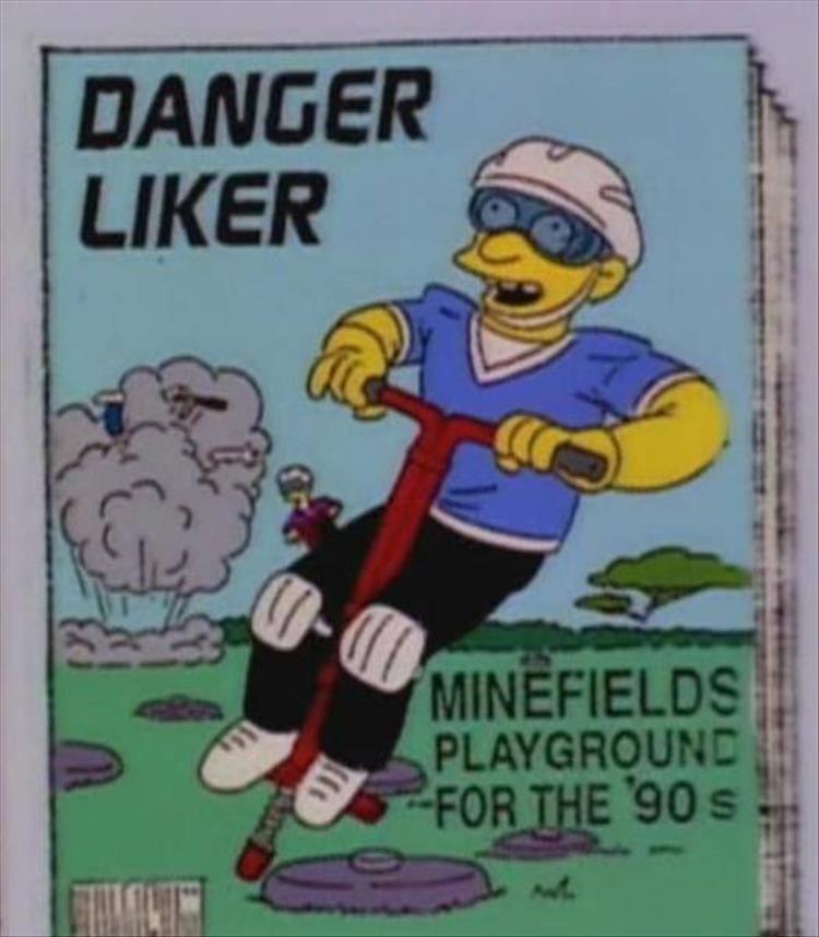 Cartoon - DANGER LIKER MINEFIELDS PLAYGROUND FOR THE 90S