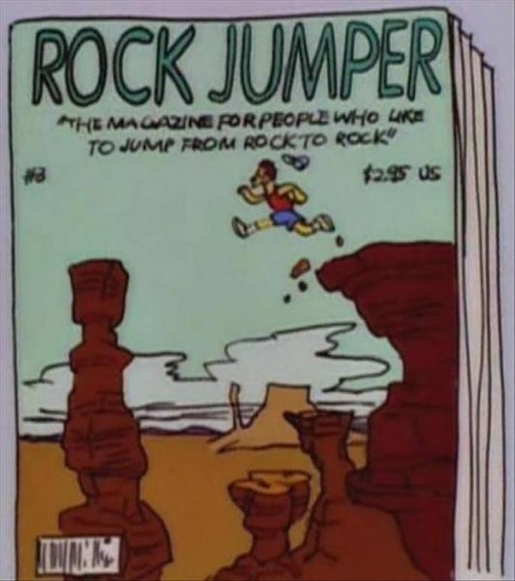 Cartoon - ROCK JUMPER THEMAGAZINE FORPEOPLE WHO UKE TO JUMP FROM ROCKTO ROCK t2sus