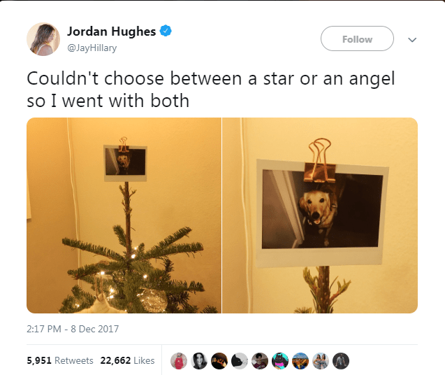 Text - Jordan Hughes Follow @JayHillary Couldn't choose between a star or an angel so I went with both 2:17 PM 8 Dec 2017 5,951 Retweets 22,662 Likes