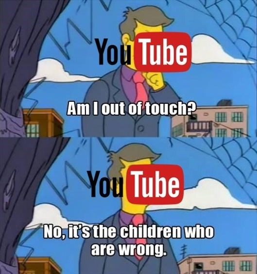 Cartoon - You Tube AmI out of touch? You Tube No, it's the children who are wrong.
