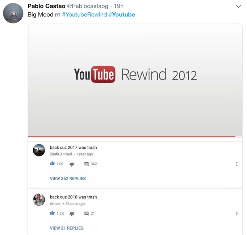 Text - Pablo Castao @Pablocastaog 19h Big Mood rn #YoutubeRewind #Youtube YouTube Rewind 2012 back cuz 2017 was trash Zaafir Ahmad 1 year ago I14K 362 VIEW 362 REPLIES back cuz 2018 was trash 5 hours ago Ameen 1.3K 21 41 VIEW 21 REPLIES