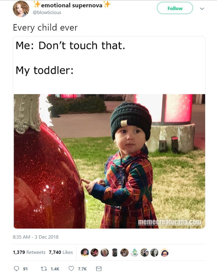 Text - emotional supernova Follow @blowticious Every child ever Me: Don't touch that. My toddler: memecreatorapn.com 8:35 AM 3 Dec 2018 - 1,379 Retweets 7,740 Likes QWHA t 1.4K 91 7.7K