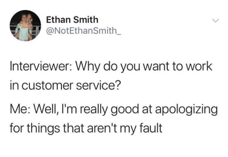 tweet about having a natural talent for customer service