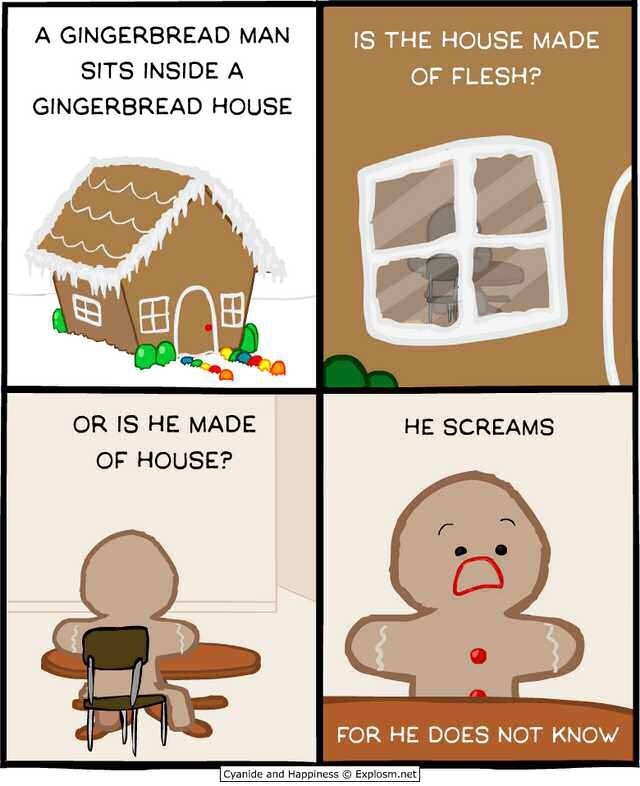 macabre comic about a gingerbread man