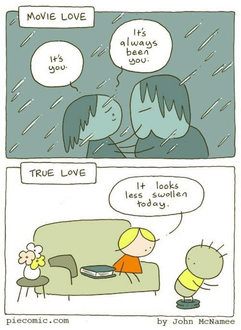 comic comparing romantic relationships in movies and the much less idealized real life version