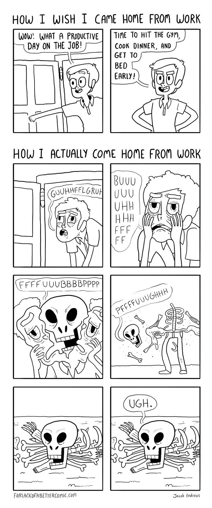 comic about wanting to be productive after returning home from work but in reality falling apart in exhaustion