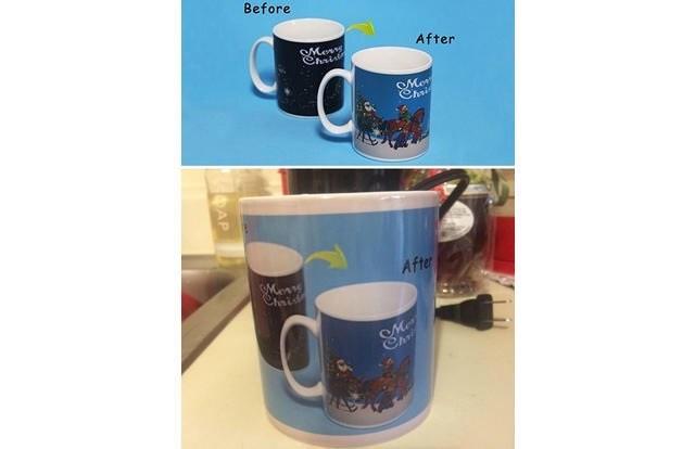 coffee mug that has the image of before and of what the mug should like on the actual mug