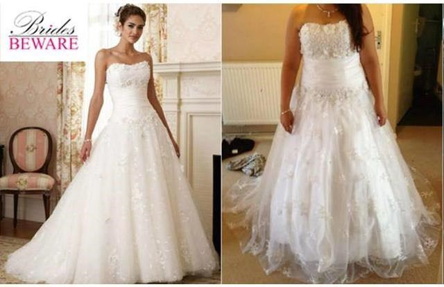 image of a wedding gown that looks different from the one on the website